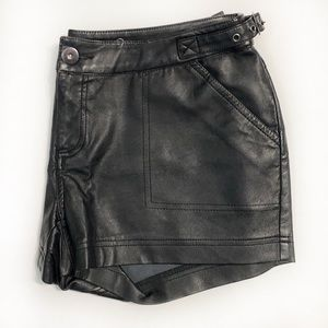 Vintage Faux Leather Moto Shorts